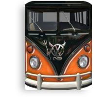 Orange Camper Van With Devil Emblem Canvas Print