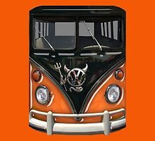 Orange Camper Van With Devil Emblem by Jason Subroto