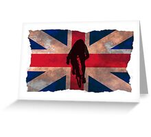 Cycling Sprinter on UK Flag Greeting Card