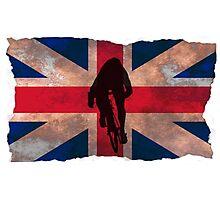 Cycling Sprinter on UK Flag Photographic Print