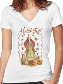 Hello Fall Women's Fitted V-Neck T-Shirt