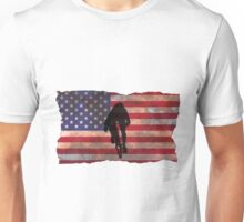 Cycling Sprinter on US Flag Unisex T-Shirt