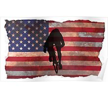 Cycling Sprinter on US Flag Poster