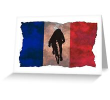 Cycling Sprinter on French Flag Greeting Card