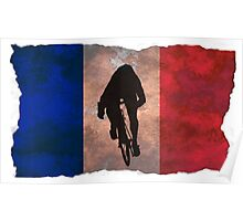 Cycling Sprinter on French Flag Poster