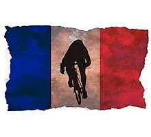 Cycling Sprinter on French Flag Photographic Print