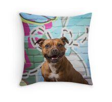 Queenie on graffiti Throw Pillow