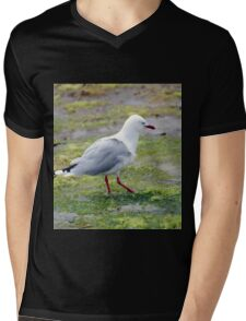 A single seagull at low tide Mens V-Neck T-Shirt