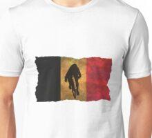 Cycling Sprinter on Belgian Flag Unisex T-Shirt