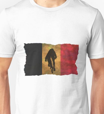 Cycling Sprinter on Belgian Flag Unisex T-Shirt