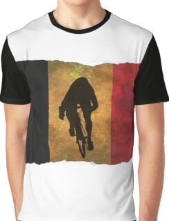 Cycling Sprinter on Belgian Flag Graphic T-Shirt