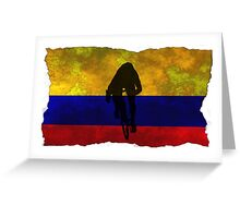 Cycling Sprinter on Columbian Flag Greeting Card
