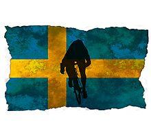 Cycling Sprinter on Swedish Flag Photographic Print