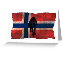 Cycling Sprinter on Norwegian Flag Greeting Card