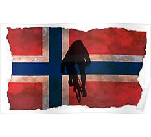 Cycling Sprinter on Norwegian Flag Poster