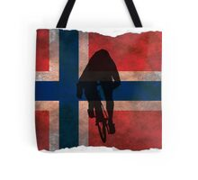 Cycling Sprinter on Norwegian Flag Tote Bag