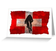 Cycling Sprinter on Swiss Flag Greeting Card