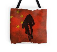 Cycling Sprinter on Chinese Flag Tote Bag