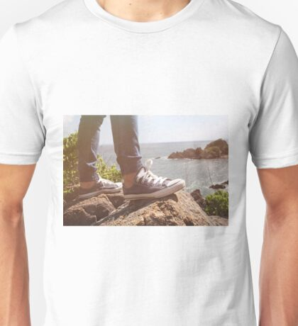 feets on the rock of the mountain Unisex T-Shirt