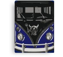 Navy Blue Camper Van With Devil Emblem Art Canvas Print