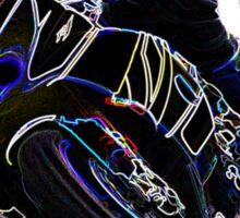Glowing Motorcycle Rider Circle Racing Sketch Sticker