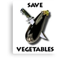 Save Vegetables Eggplant With Military Knife Canvas Print