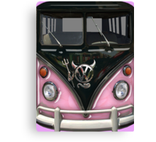 Pink Camper Van With Devil Emblem Canvas Print