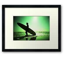 Surfer carrying surfboard in surreal silhouette in green in sea ocean water by beach 35mm analog xpro cross lomo lca photo Framed Print