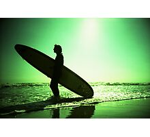 Surfer carrying surfboard in surreal silhouette in green in sea ocean water by beach 35mm analog xpro cross lomo lca photo Photographic Print