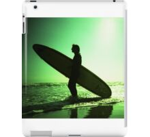 Surfer carrying surfboard in surreal silhouette in green in sea ocean water by beach 35mm analog xpro cross lomo lca photo iPad Case/Skin