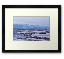 Snowy valley with wild Herd of horses Framed Print