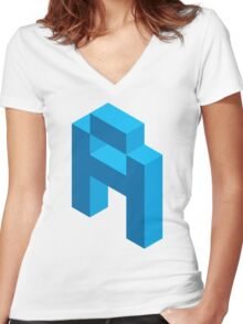 Isometric blue letter A Women's Fitted V-Neck T-Shirt