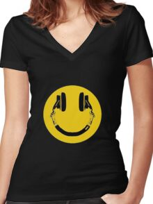 Smiley Jaune Casque Women's Fitted V-Neck T-Shirt