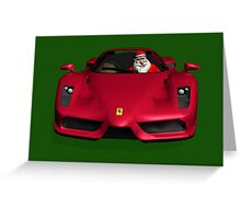 Santa Claus Driving A Ferrari Greeting Card