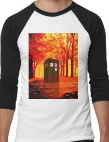 tardis starry nigh - oranye sun Men's Baseball ¾ T-Shirt