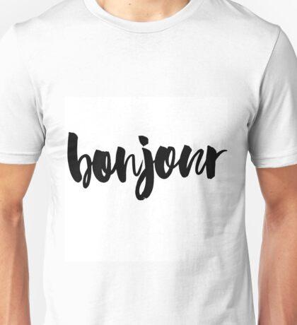 bonjour ink brush lettering Unisex T-Shirt