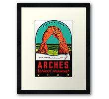 Arches National Monument Utah Moab Vintage Travel Decal Framed Print