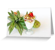 Healthy snack Yogurt and fruit Garnished with oats and honey Greeting Card