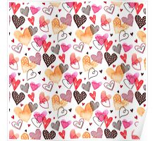 Colorful Cute Hearts Pattern Poster