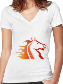 Horse 6 Women's Fitted V-Neck T-Shirt