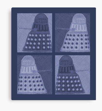 Daleks in negatives - blue Canvas Print
