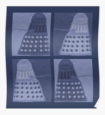 Daleks in negatives - blue Poster