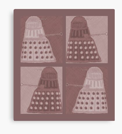 Daleks in negatives - brown Canvas Print
