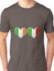 Irish and Italian Heart Flags Unisex T-Shirt