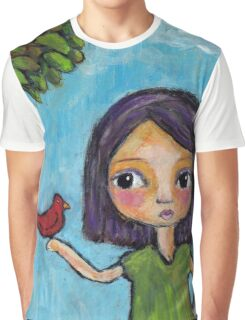 Girl and a Red Bird Graphic T-Shirt
