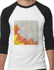 autumn leaves as a frame Men's Baseball ¾ T-Shirt