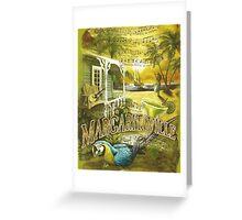 Margaritaville Poster Lyrics by Jimmy Buffett Greeting Card
