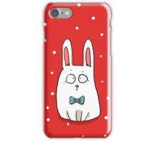 Bunny with a blue bow tie iPhone Case/Skin