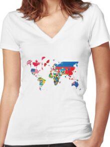Traveler World Map Flags  Women's Fitted V-Neck T-Shirt