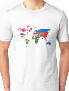 Traveler World Map Flags  Unisex T-Shirt